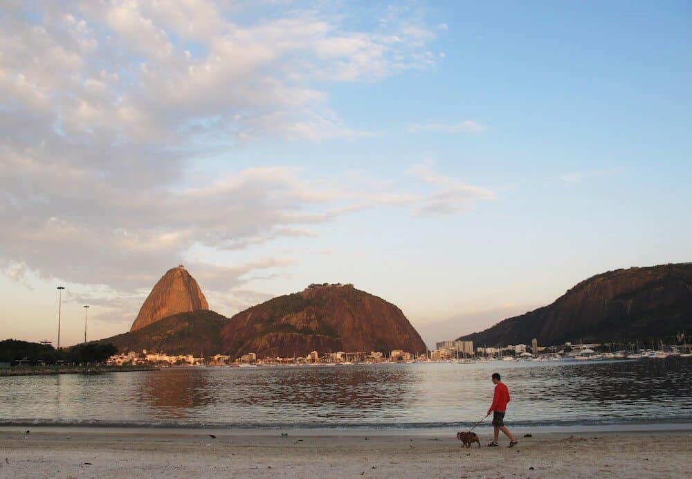 A man and his dog walking along the water in Rio.
