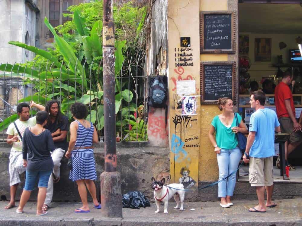 A dog outside of a bar in Santa Teresa, Rio de Janeiro.