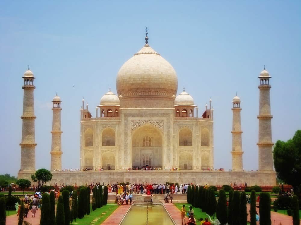 The Taj Mahal in India, surrounded by gardens.