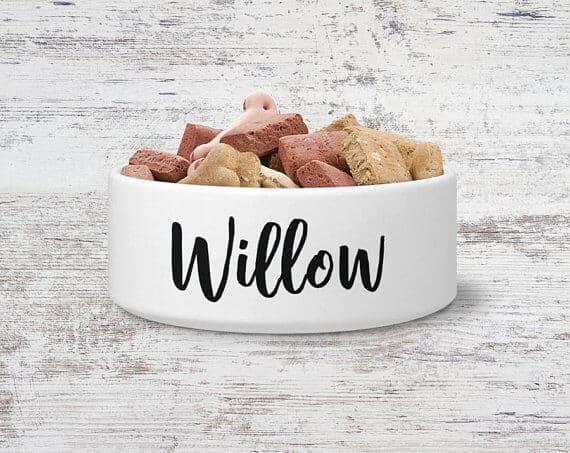 A custom dog bowl full of dog food.