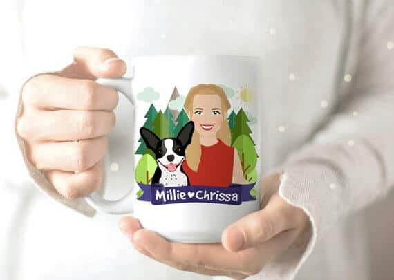 A custom dog portrait printed on a mug.
