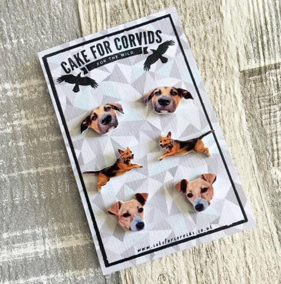 Custom pet earrings sold on Etsy.