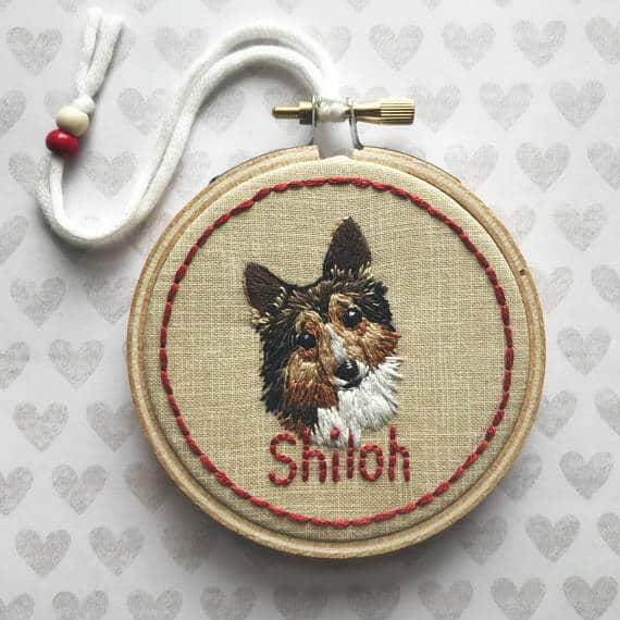 A custom embroidery of Shiloh the Collie dog.