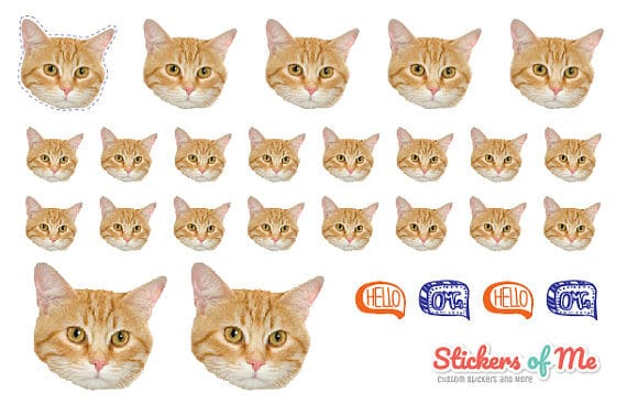 A sheet of custom cat stickers.