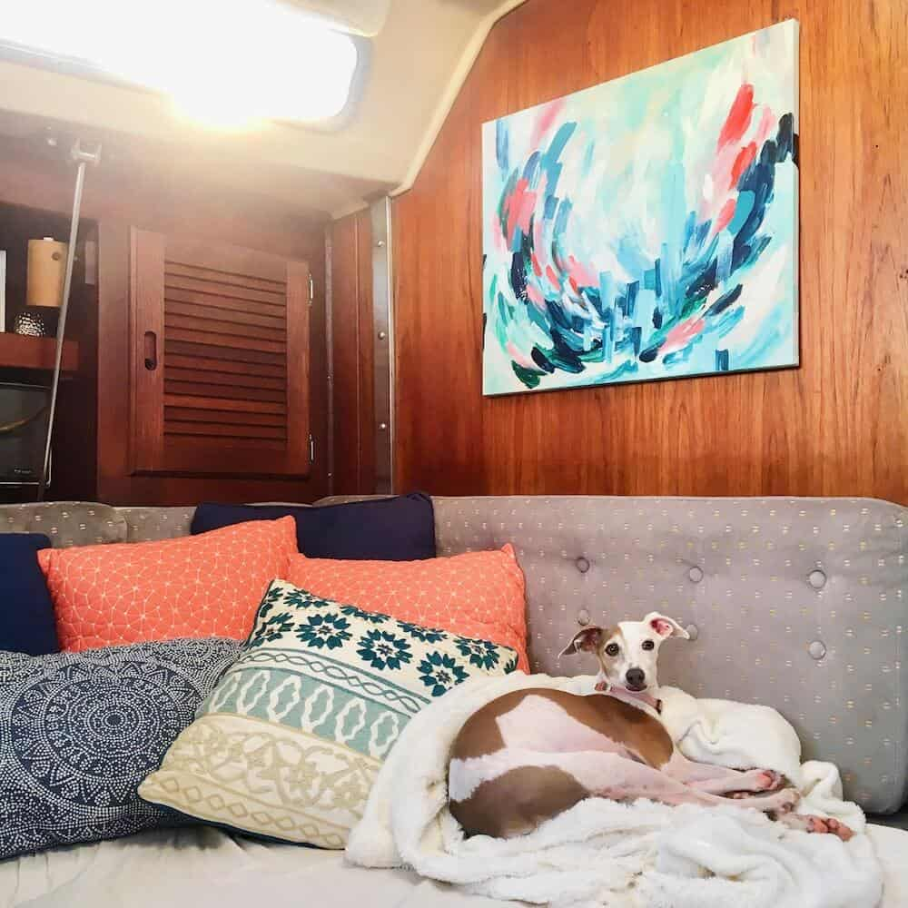 A Greyhound dog curls up on a sofa in a sailboat.