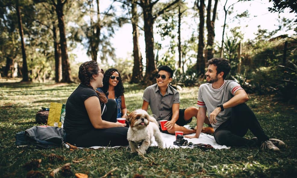 A group of friends hang out in a grassy park with their dog.