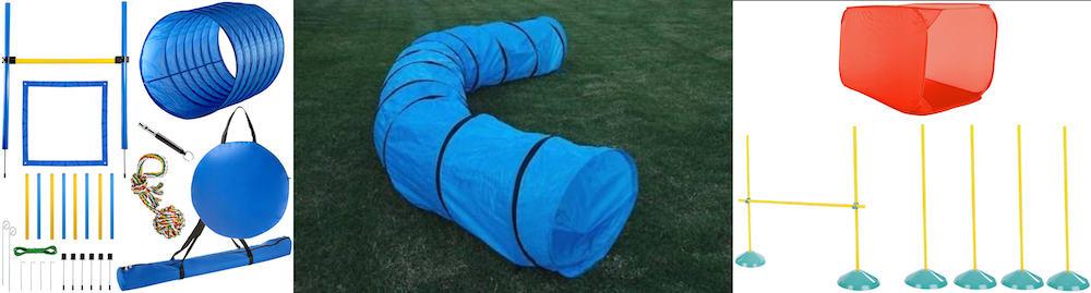 Sets of dog agility equipment.