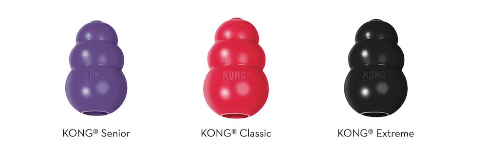 A variety of KONG dog toys.