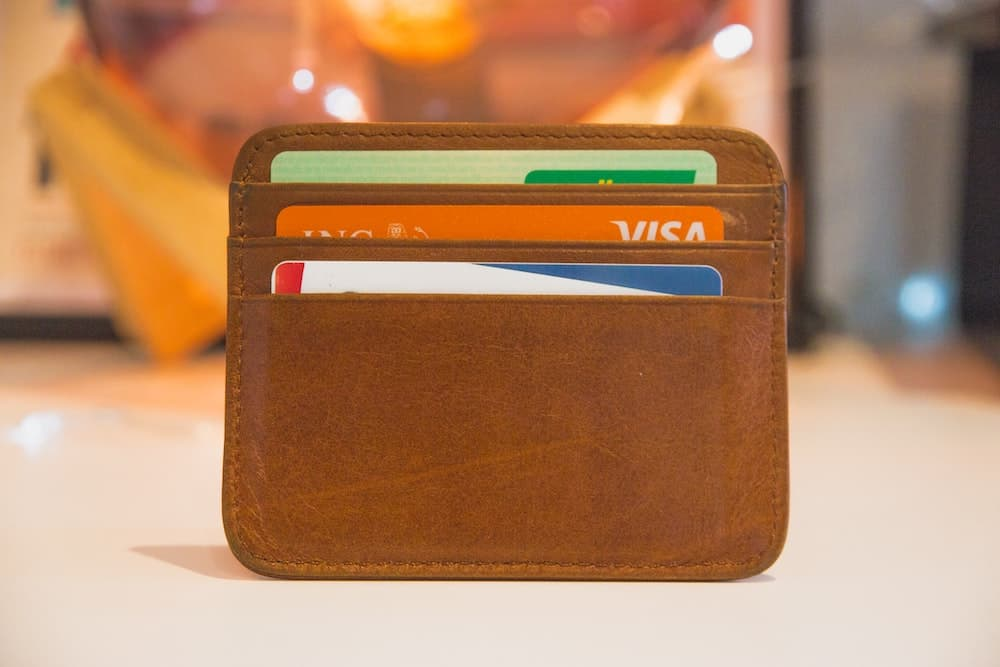 A wallet full of credit cards.