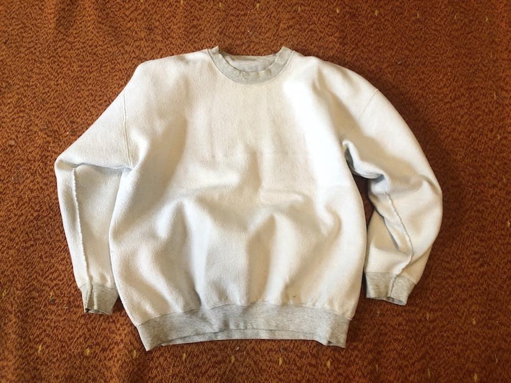 An inside out sweatshirt.