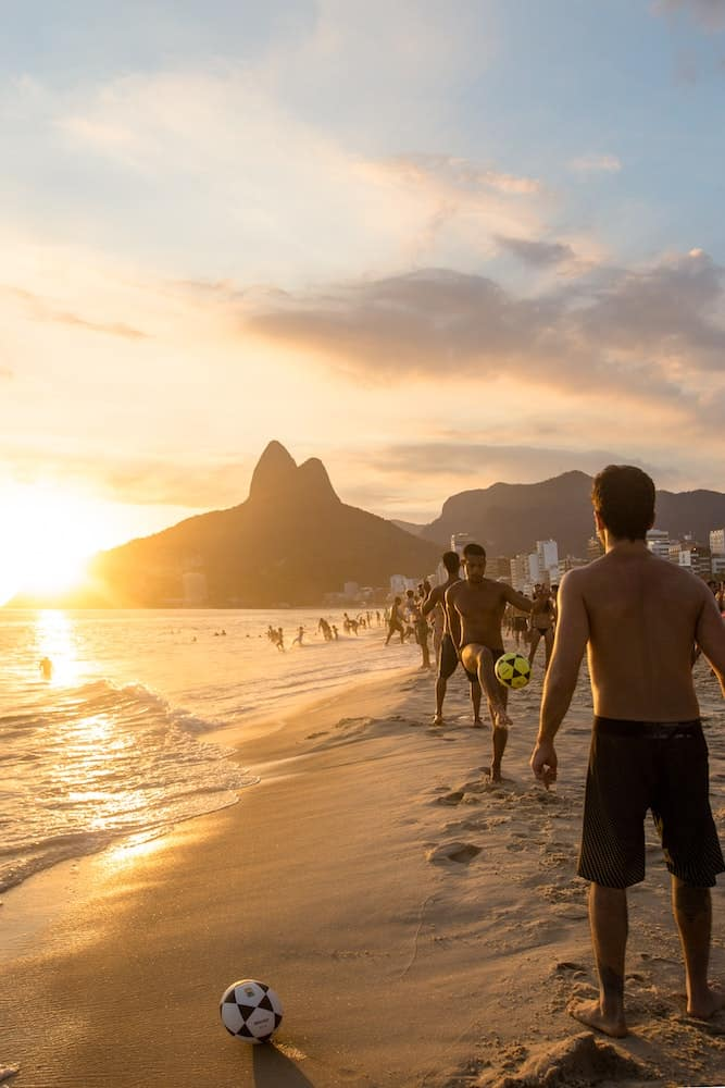 The beaches of Rio with a view of Dois Irmãos