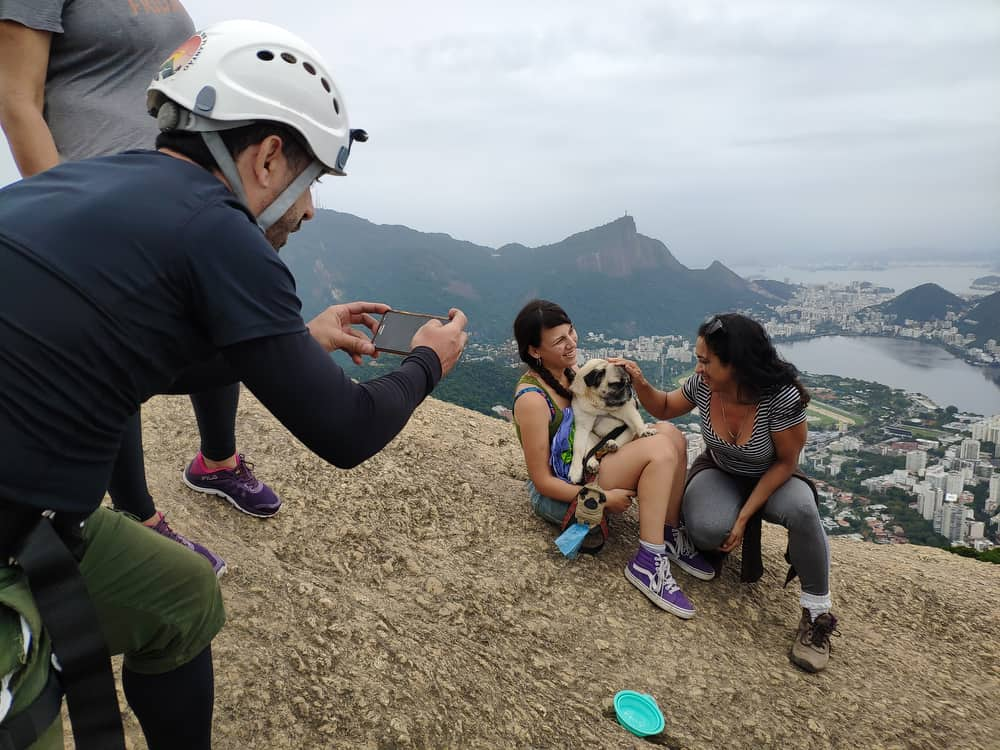 Taking photos at the top of Dois Irmãos