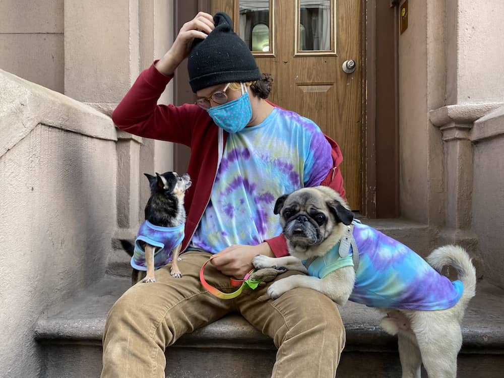 A man and two dogs in matching tie dye.